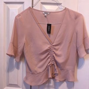 Mauve plunging neckline crop top